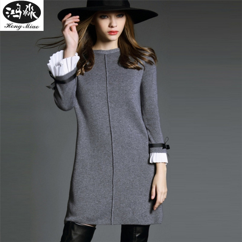 2018 New Autumn Winter Wool Dress Knitted Dress Female Long Sweater Dress Large Size Long Sleeve Mini Dress C1 mix wind sexy off shoulder cotton knitted women mini bodycon dress slim long flare sleeve autumn strapless sweater dress red