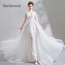 Gardenwed Sexy Mermaid Lace Wedding Dresses 2019 White Wedding Gowns V Neck Long Train Bridal Dress Vestido De Noiva