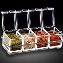 Clear Seasoning Rack Spice Pots, 4-Piece Acrylic Seasoning Box, Storage Container Condiment Jars with Cover and Spoon(China)