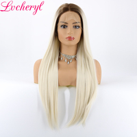 Lvcheryl Ombre Dark Brown Roots To Milky Blonde Natural Long Silky Straight Glueless Synthetic Front Lace Wigs for White Women