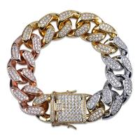 18mm HipHop Iced Out Miami Cuban Link Bracelet Gold Silver Color Plated Chain Bracelets Men Women Fashion Jewelry JUNLU