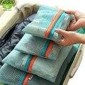 4 Unids/set Organizar Viajes Embalaje Cube Ropa Clasificación Bolsas de Viaje Unisex Bolsa De Malla Sistema Duradero Equipaje de Viaje Duffle Bag