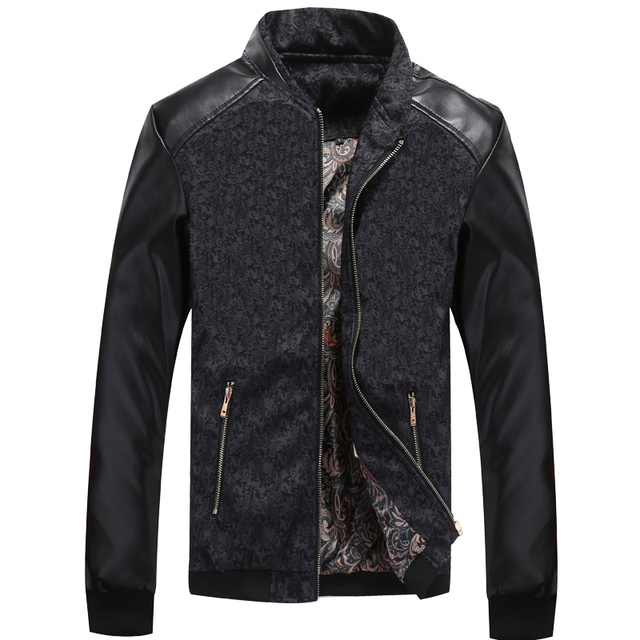 Leather Patchwork Men's Jackets 2