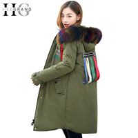 HEE GRAND 2017 Winter Women Parkas Fur Collar High Street Overcoat Long Snow Coat Warm Coats