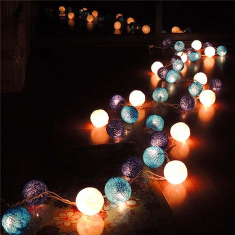 3m 35pcs Cotton Balls Christmas Xmas Blue LED String Fairy Lights Garland Decoration Holiday Party Guirnalda Luces AC110V/220V