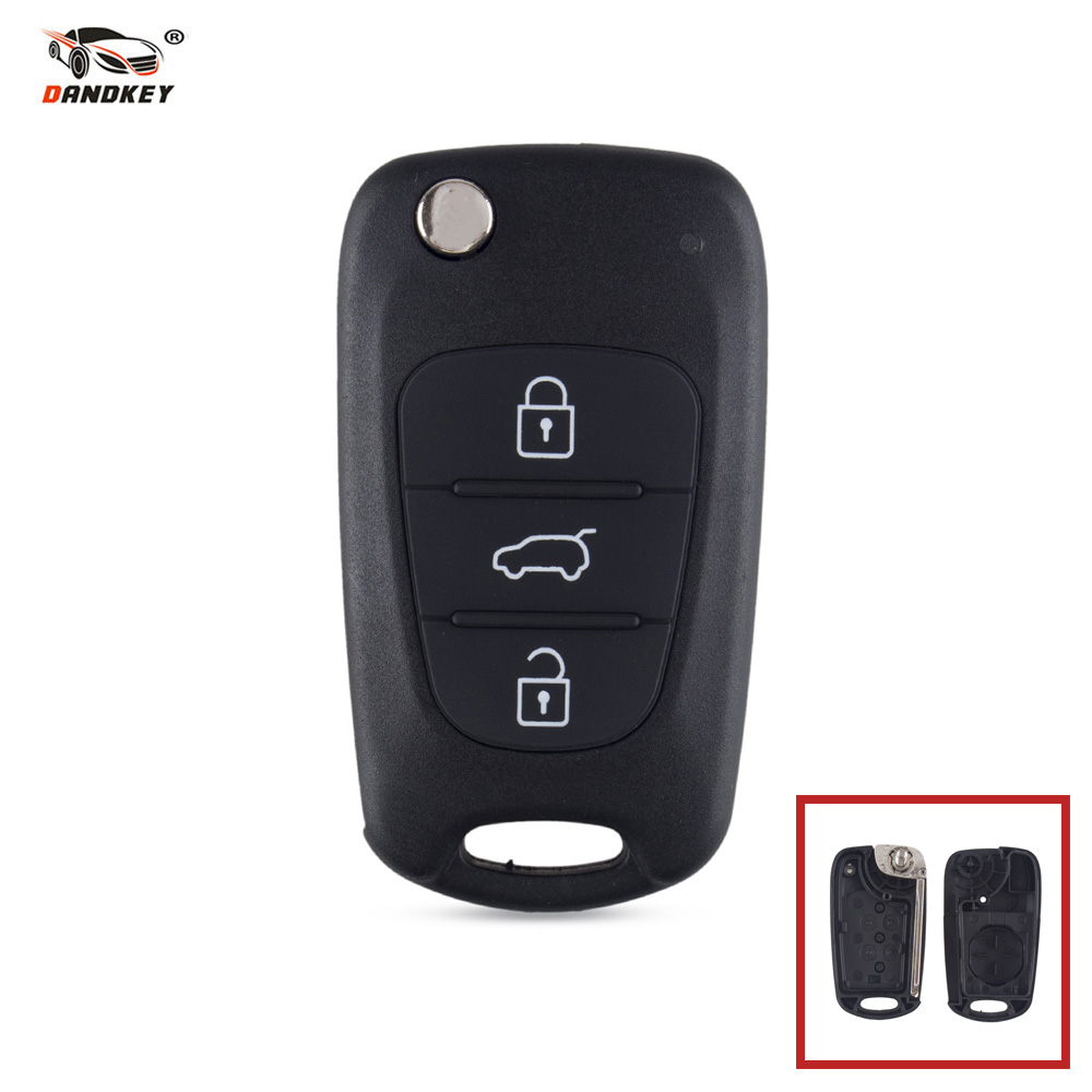 Dandkey 50x Flip Folding Car Remote key Shell Fob 3 Buttons For Hyundai For Kia Sportage Picanto 3 Rio K2 K5 Cerato Ceed Soul 3 buttons car smart remote key 433 9mhz for soul sportage sorento mohave k2 k5 rio optima forte cerato for kia