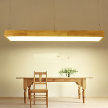Restaurant lights chandeliers wooden minimalist Nordic study rectangular bar Japanese-style LED solid wood office creative lamp(China)