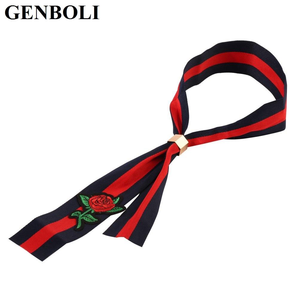GENBOLI Neckband Clothing Decoration Retro Elegant Folk Rose Flower Pattern Embroidery Craftsmanship Cloth Accessories