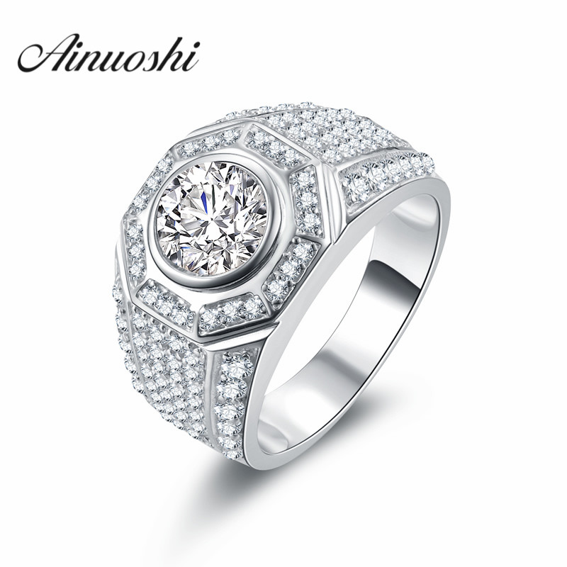 AINOUSHI Luxury Ring Round Brilliant Cut 2 Ct SONA Wedding Ring 925 Sterling Silver Charm Ring