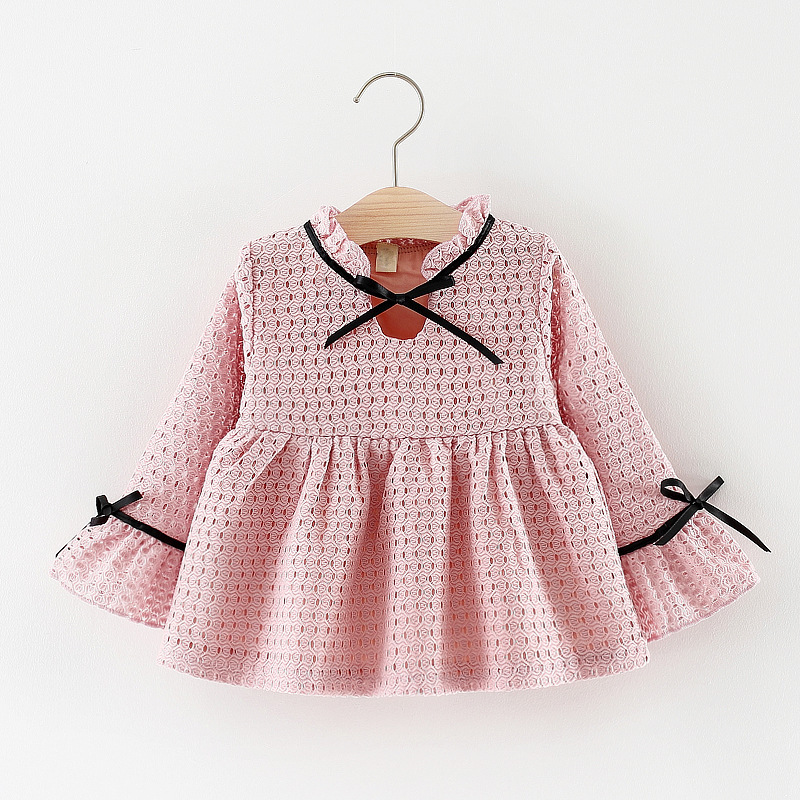Long Sleeve 0-3 y Baby Girls Dress New Spring Autumn childrens costumes Cute Bow Newborn Clothing Birthday Party Princess Dress