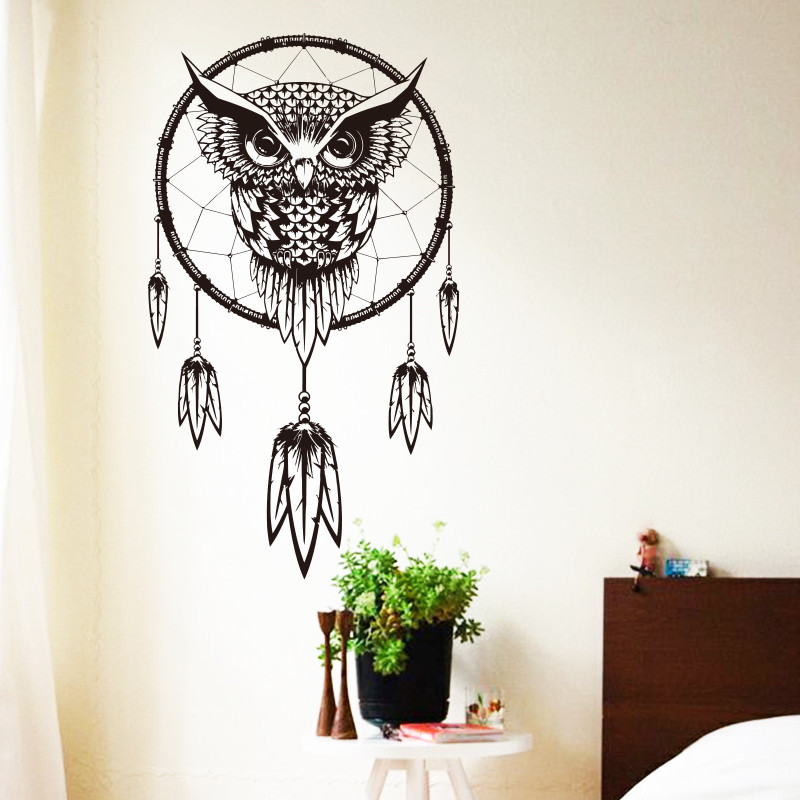2016 art design indian dream catcher vinyl owl home decor for Stickers para pared decorativos