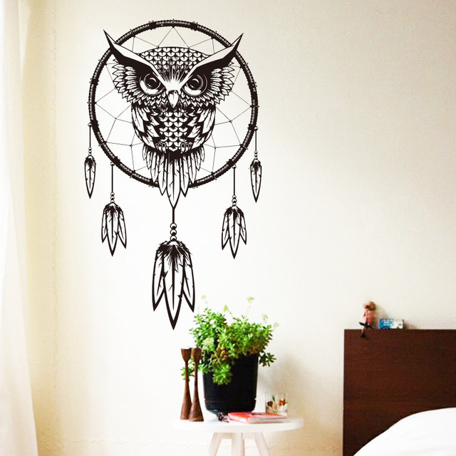 Art design indian dream catcher vinyl owl home decor wall sticker cheap house decoration colorful animal