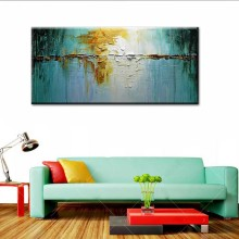 Large Hand Painted Modern Abstract Thick Blue Yellow Oil Painting on Canvas Home Wall Painting