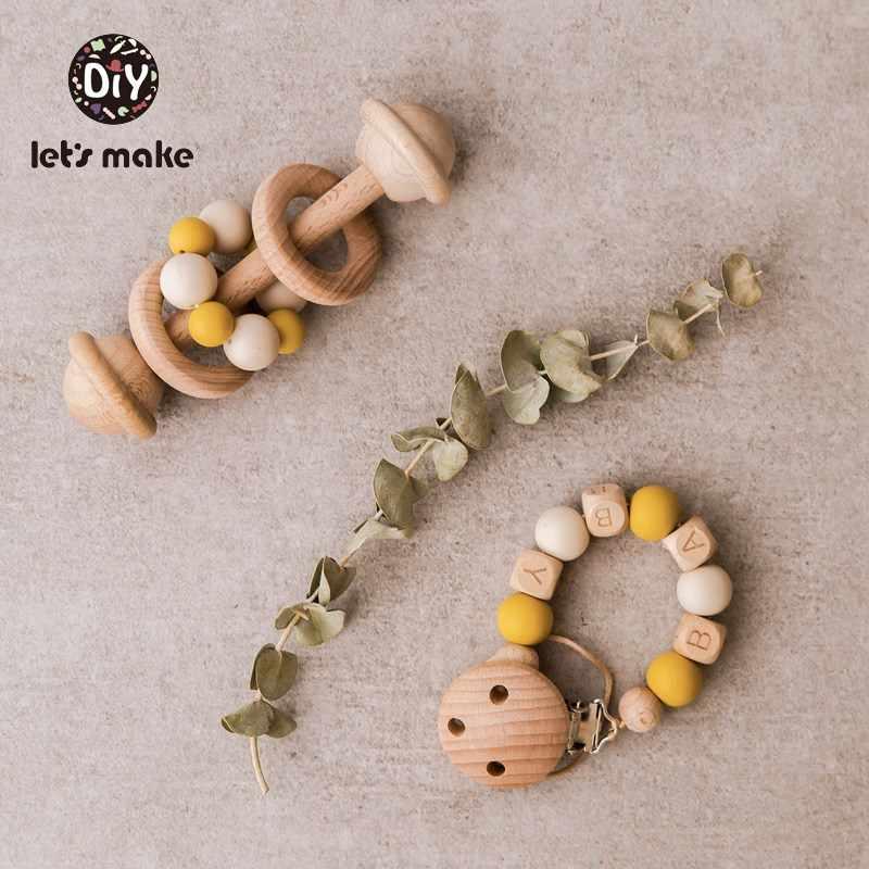 Давайте сделаем детские погремушки 0-12 месяцев игровой, для тренировок Монтессори игрушки без БФА, силиконовый бисер бука деревянная пустышка цепи и Набор погремушек