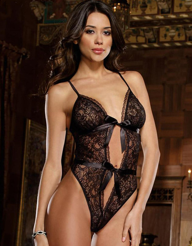 e404ba21a13 Backless Lace Tie Front Teddy Lingerie Seduce Black Red Sexy Bodysuit  Underwear W5350