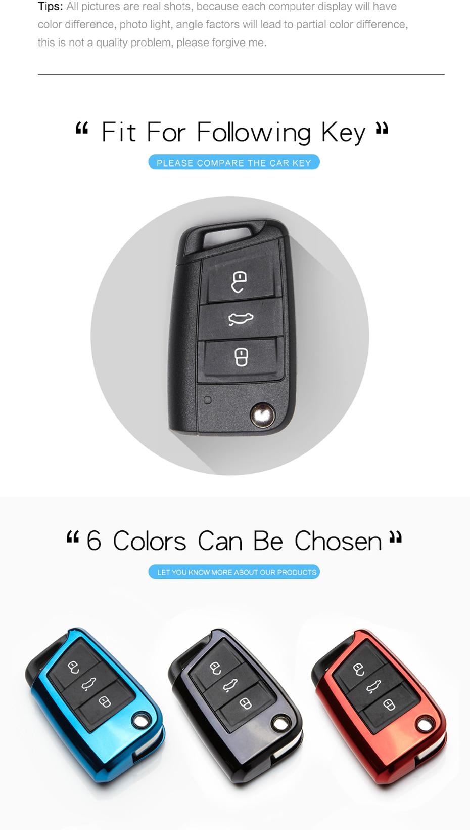 TPU Car Key Bag Cover For Volkswagen VW Golf 7 MK7 Passat B5 B6 B7 Polo  Tiguan Keychain For Seat Leon For Skoda Octavia Key Case