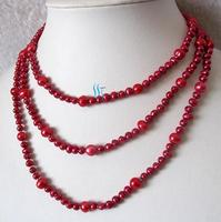 52 inches Long Pearl Jewelry Set 4 8mm Coral Red Off Round Freshwater Pearl Necklace Free Pairs Earrings