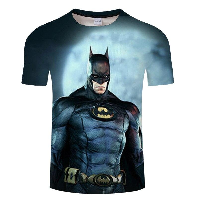 Verano 2018 casual 3d impreso hombres camiseta, marvel superman batman hero camiseta, hip hop de manga corta Camiseta tamaño asiático