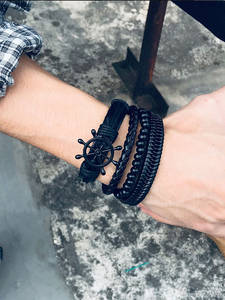 Vnox Mix 4Pcs/ Set Braided Wrap Leather Bracelets for Men Women Vintage Wooden Beads