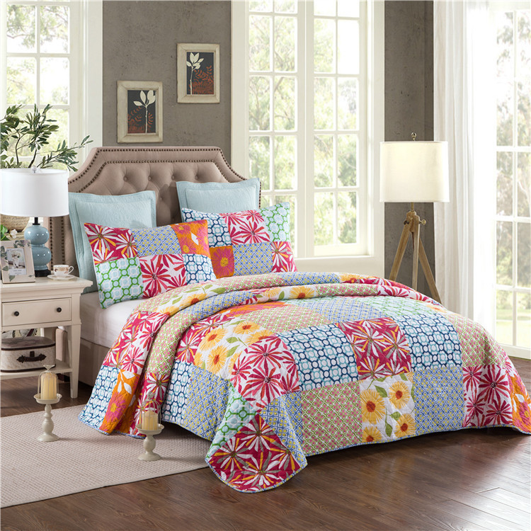 DeMissir USA Rural Parchwork 100% Cotton King Quilt +2 Pillow Cases Summer Quilted Cool Comforter Bed Cover BlanketDeMissir USA Rural Parchwork 100% Cotton King Quilt +2 Pillow Cases Summer Quilted Cool Comforter Bed Cover Blanket