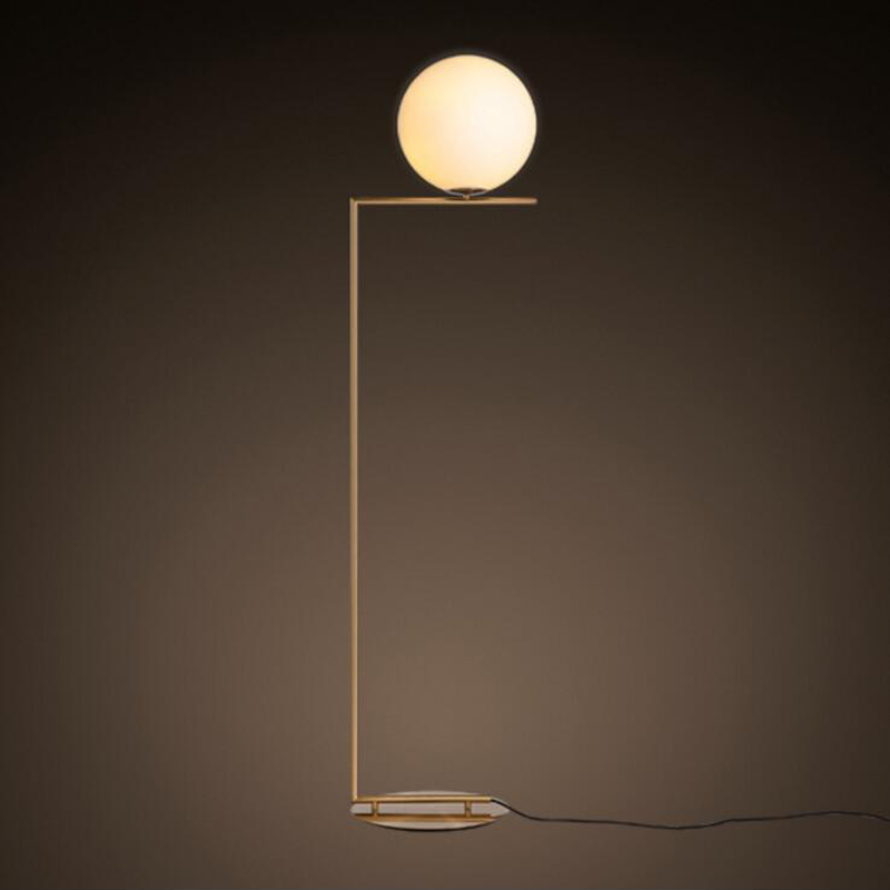Modern minimalist glass ball lamp floor lamp Nordic personality bedroom bedside living room sofa ball floor lamp led iron lamps nordic floor lamp living room shelf modern minimalist bedroom lights vertical american creative iron bedside floor lamps