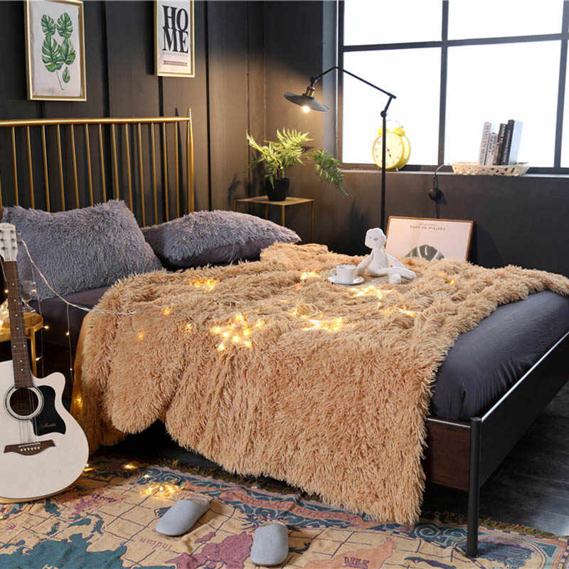 Faux Fur Blanket Queen King Single Warm PV Fleece Blankets Throw on Sofa Bed Plane Camel Plaids Solid Bedspreads Fluffy Blanket