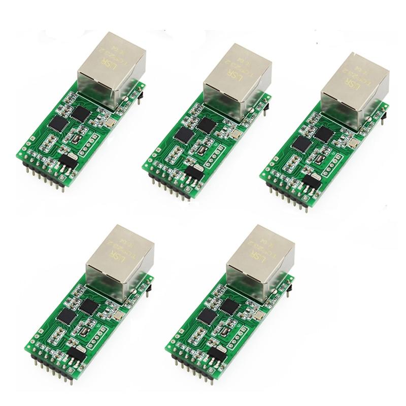 5PCS USRIOT USR TCP232 T2 Tiny Serial Ethernet Network Converter Module Serial UART TTL to Ethernet