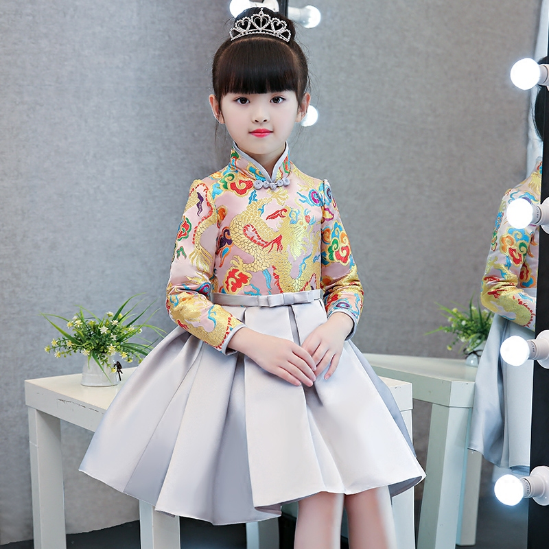 2017New Arrival Children Kids High Quality Chinese Traditional Cheongsam Dress For New Year Spring Festival Birthday Party Dress 2017new chinese traditional baby girls chi pao cheongsam red dress new year gift children clothes kids embroidery party dresses