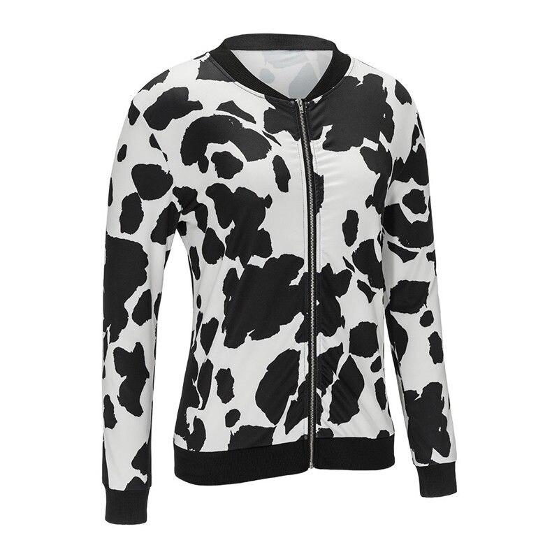 2017 Autumn Women Bomber   Basic     Jacket   Zipper O-neck Women Print Outwear Loose Coat Plus Size XXL