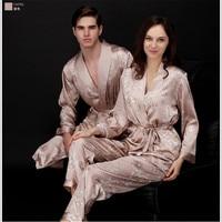 2019 Spring Summer Autumn Silk Family Pajamas Sets & Sleep Pants Couple Sleepwear Lover Nightgown & Home Clothing Pajama Sets