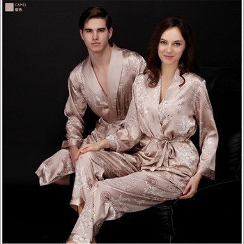 2019 Spring Summer Autumn Silk Family Pajamas Sets & Sleep Pants Couple Sleepwear Lover Nightgown & Home Clothing Pajama Sets
