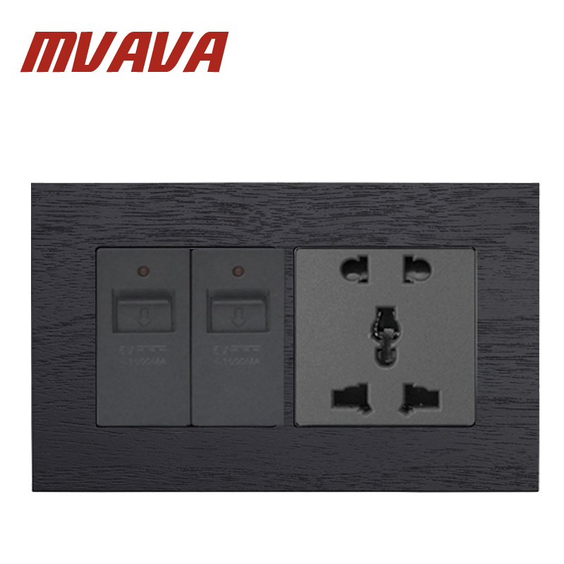 MVAVA Double 5 Pin Socket With Double USB Socket Black Artificial Wood 86*146MM Double Multifunction Socket Free Shipping 15a 16a south africa socket and double ubs socket wallpad 146 86mm white glass 2 usb ports and 16a sa switched socket with led