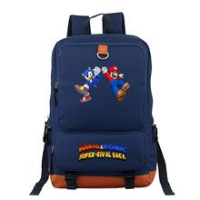 Cartoon Super Mario Bros Sonic Hedgehog dla dzieci plecak dla dzieci Cartoon tornister chłopców i dziewcząt ortopedyczne plecak Mochila Escolar tanie tanio Torby szkolne 14cm 28cm 0 6kg Nylon Delune Unisex boys school bag 43cm zipper