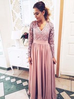 Elegant A Line V Neck Long Sleeve Lace Long Prom Dress Formal Evening Dress Mother of the Bride Dresses