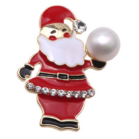 Clearance!!!! Santa Brooches Claus style White Natural Freshwater Cultured Pearl Brooch Santa Pin Gift For Christmas