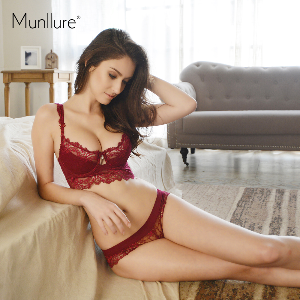 Munllure Ultra-thin Sexy Lace Bra Set  Plus size Girl Brassiere Push up Bra and Panties Female Ladies Women Underwear Set