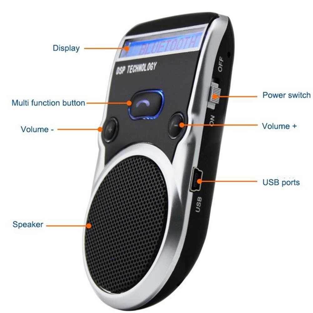 Solar Powered LCD Display Bluetooth Car Kit Handsfree Calling Device Speaker solar bluetooth v4 0 edr handsfree car kit