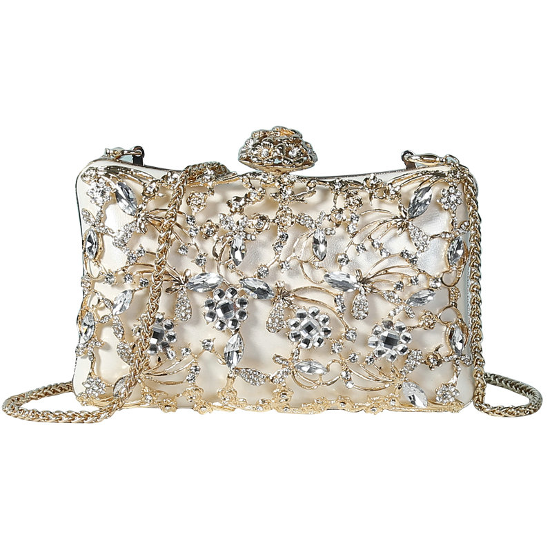 Rhinestone Clutches Purse Handbags Floral-Bag Evening-Bag Crystal Diamond Gold Bridal