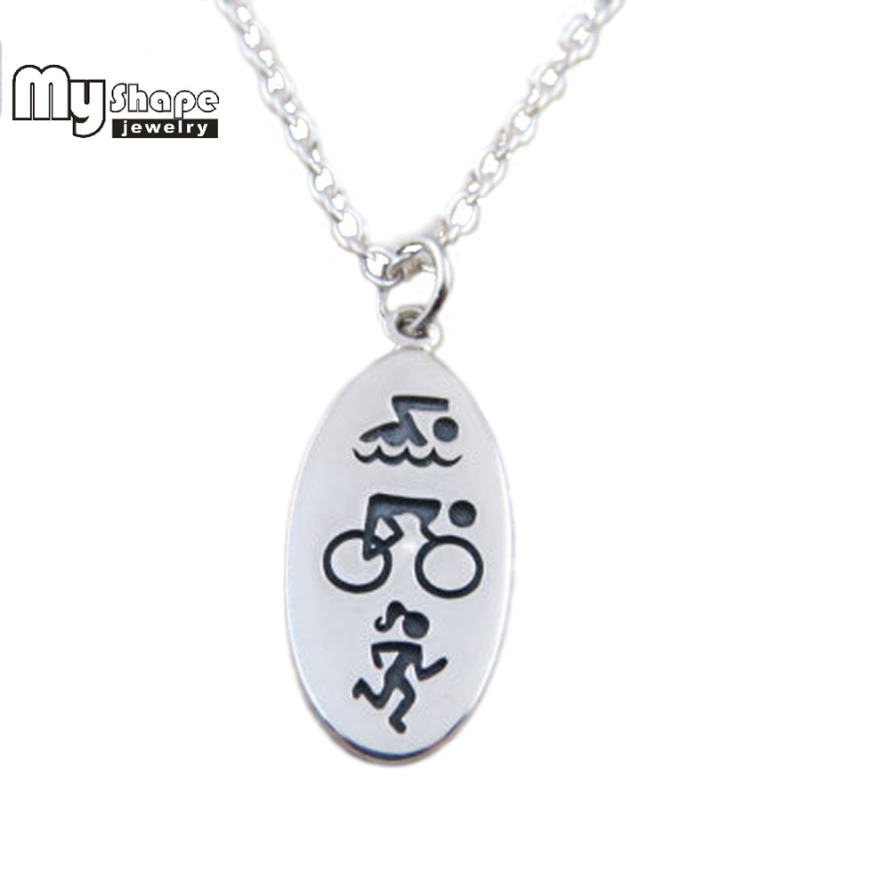 my shape New Design Sport Charms For Jewelry Making Women Men Necklace Triathlon Swimming Cycling Running Signature body jewelry