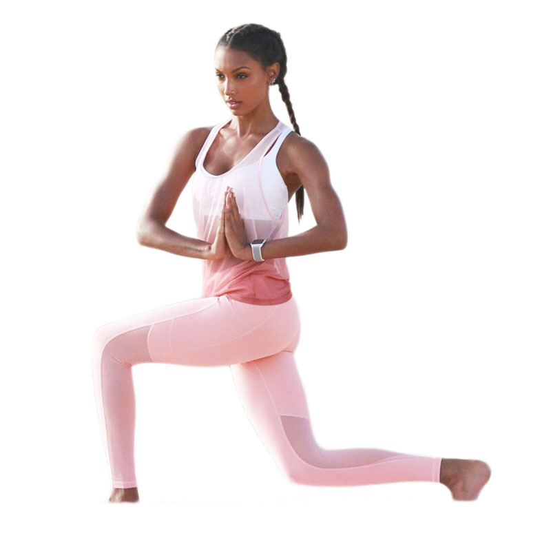 Pink Sexy Yoga Sports Running Fitness 3 Piece Set Running Sports Wear Fitness Clothing Exercise Dance Gym Sport Yoga Set Women new winter yoga suit five piece female ms breathable coat of cultivate one s morality pants sports suits running fitness