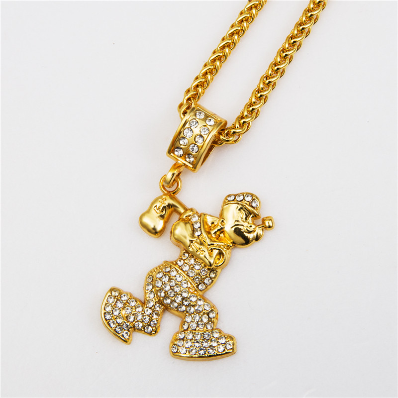 Golden Bling Rhinestone Popeye the Sailor Necklaces Hip Hop Jewelry Chains Men Women Charm Crystal Pendants