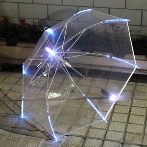 Image 1 - LED Light Transparent Unbrella For Environmental Gift Shining Glowing Umbrellas Party Activity props Long Handle Umbrellas