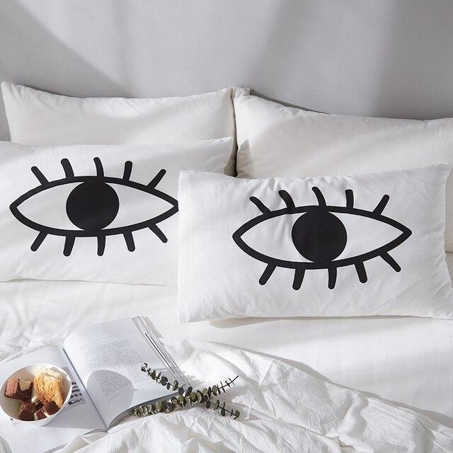 Cilected Augen Gedruckt Baumwolle Kissenbezug Bettwäsche Für Paar