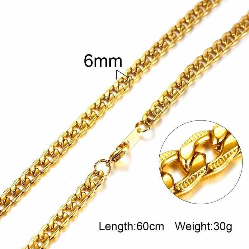 """24 """"цепочка на шею для мужчин Классический Простой Нержавеющая сталь Мужской Colar ювелирные изделия золотой цвет"""