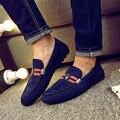 2017 de Moda de Cuero Genuino Zapatos Mocassin Casual Slip On Pisos Mocasines Zapatos de Conducción