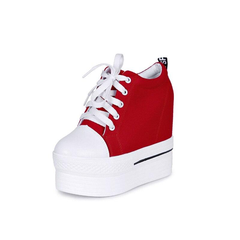 100% Wahr Schuhe Für Frauen Plattformen Schuhe Frauen Leinwand Schuhe Frau Vulkanisierte Schuhe Versteckte Ferse Lace-up 11,5 Cm Zunehmende Sneaker Größe 8