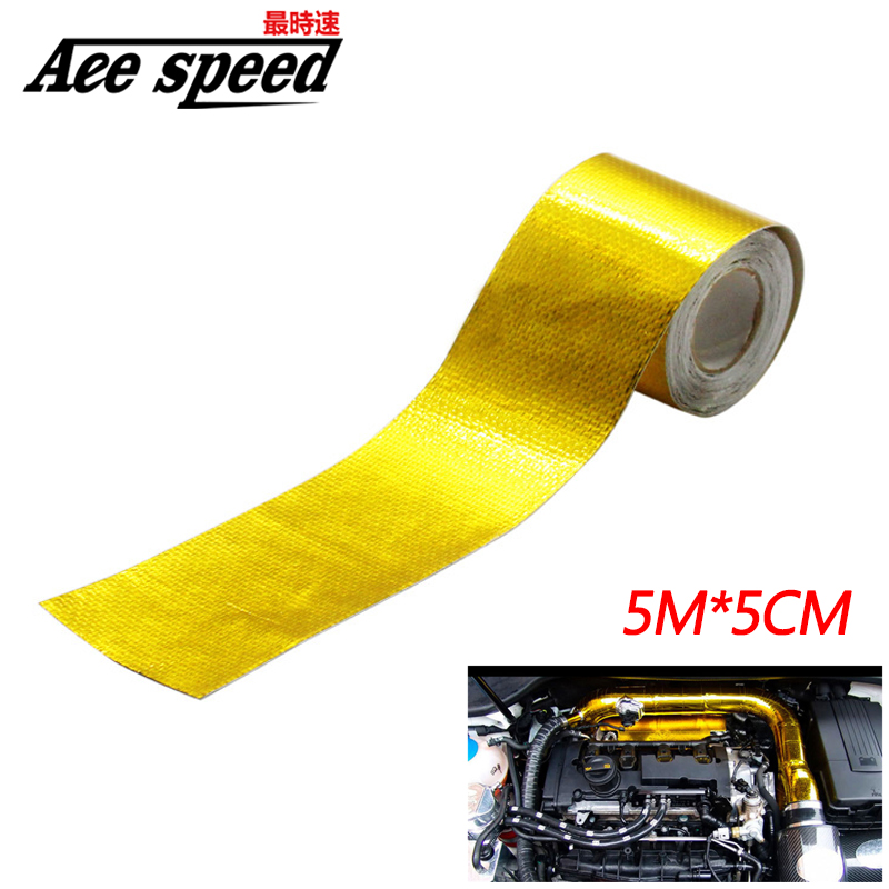 2 Inch * 5M Reflect A Gold Thermal Tape Intake Wrap Reflective Heat Barrier Self Adhesive Engine Heat Protection Resistant