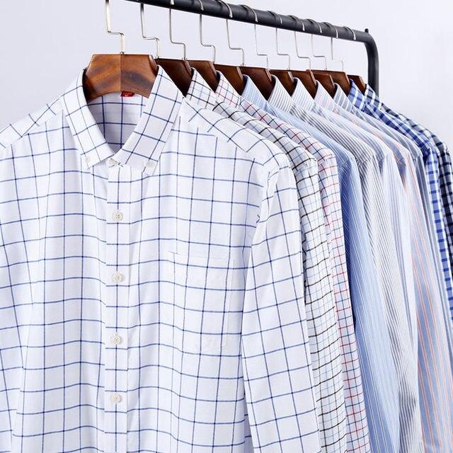 NIGRITY 2019 Homens Casuais de Manga Comprida camisa Xadrez Slim Fit Masculino Oxford Têxtil Vestido de Negócios Camisa Marca Homens Tamanho da Roupa s-5XL