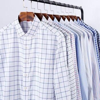68f3905c6 NIGRITY 2019 casuales de los hombres de manga larga camisa a cuadros Slim  Fit Hombre Oxford negocio textil
