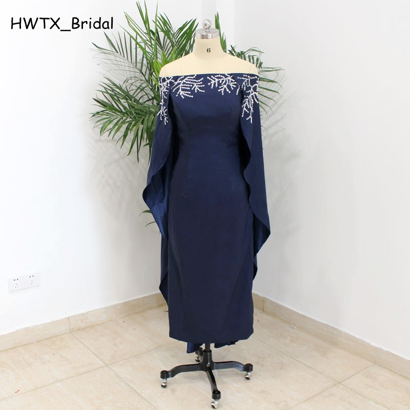 Navy Blue Tea Length Mother Of The Bride Dresses Plus Size Off Shoulder  Beading Cloak 2018 African Prom Dress Party Formal Gowns 1dd8e802db0e